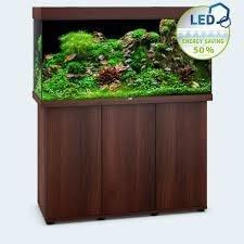 aquarium juwel rio led 350 avec meuble bois brun
