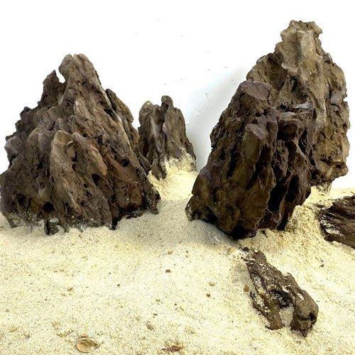 black ohkos stone roche décorative aquarium