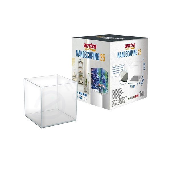 Amtra nanoscaping 25 aquarium ultraclear optiwhite cube